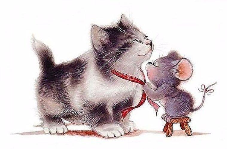 Самолетиками, открытка кошка с мышкой